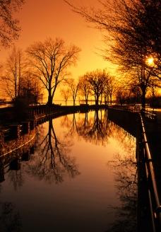 傍晚金黄色的美景图片