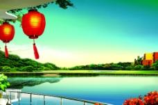 湖边的红灯笼图片