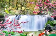 瀑布桃花图片