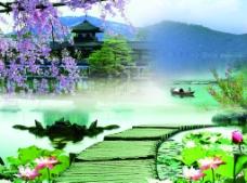 山水荷花风景图图片
