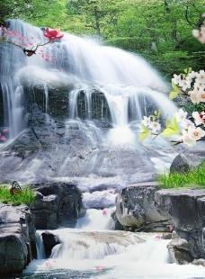 瀑布 山水 风景图片