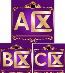 区域 ABC区 紫色背景 花纹图片