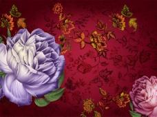 华丽复古花朵酒红色背景图
