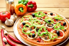 比萨美食与辣椒图片