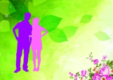 浪漫情侣花卉移门图案图片