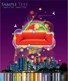 沙发炫彩线条图片