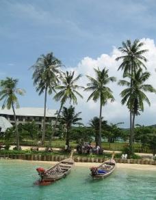 椰林船影图片