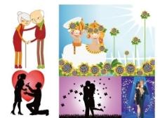 幸福的情侣和夫妻矢量素材图片