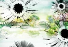 水墨花朵图片