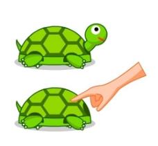 缩头乌龟矢量卡通形象图片