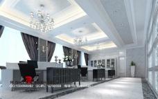 欧式办公区办公空间室内设计模型vray带全部贴图图片