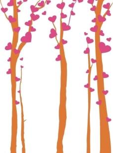 爱心树墙贴图片