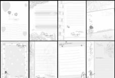 素描卡通单色内页图片