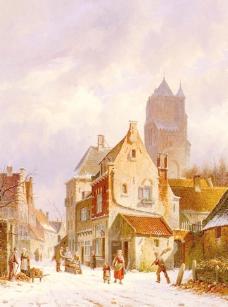 油画 阿冬的街景图片