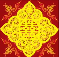 中国风格剪纸红双喜图片