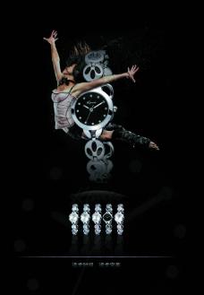 黑色简洁手表海报图片