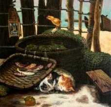 油画猫图片