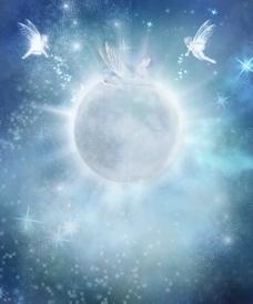 蓝色 浪漫背景 天使图片