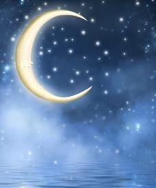 梦幻背景 弯月 星星图片