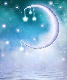 童话世界 弯月 星星图片