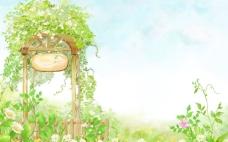 绿地花朵和蓝天