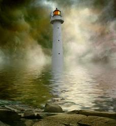 海中的灯塔图片
