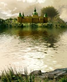 湖岸边的古堡图片
