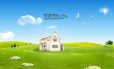 绿色草地 别墅图片