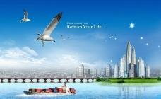 海天一色 海上城市图片