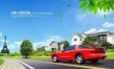 汽车公路 行驶 急驶 汽车广告图片