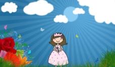 可爱 蓝天 草地 鲜花 小女孩图片