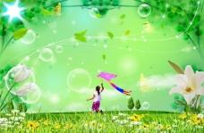 放风筝的小女孩 满园春色