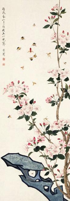 于非暗 国画 桃花蜜蜂图片