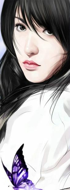 手绘美女写实图片