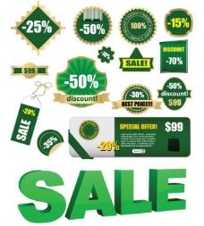 绿色销售矢量标签图片