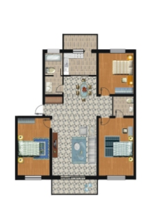 三室两厅PSD户型分层图