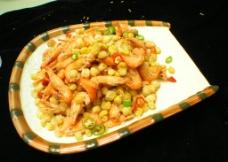 酥玉米炒河虾图片