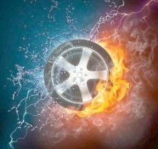 水火中的轮胎 火焰 水滴水珠图片