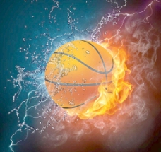 水火中的篮球 火焰 水滴水珠图片