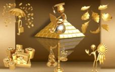 3D黃金人物封面圖片