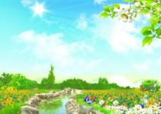 背景素材 風景 藍天 白云 小蝴蝶圖片