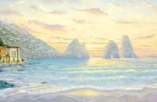 油画 海景日出图片