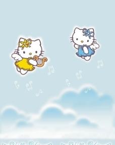 音符 hello kitty猫图片