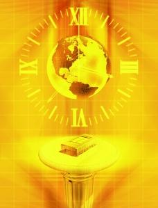 黃色科技背景 地球 芯片圖片
